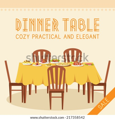 Flat vintage dinner table with many food background vector illustration concept - stock vector