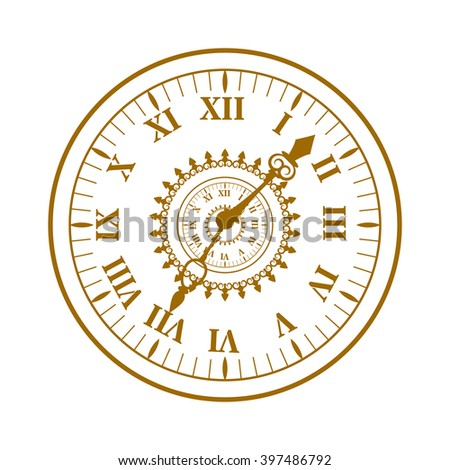 Flat watch face circle measurement and watch face time dial vector symbol isolated on white. Watch face antique clock vector illustration.  - stock vector