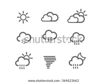 Flat weather icon set - stock vector