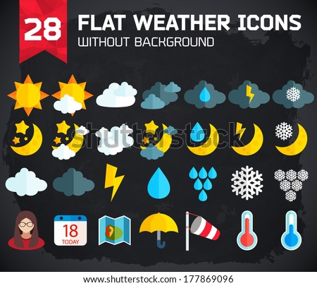 Flat weather Icons Set for Web and Mobile Applications  - stock vector