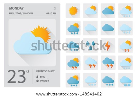 Flat weather icons set UI design - stock vector