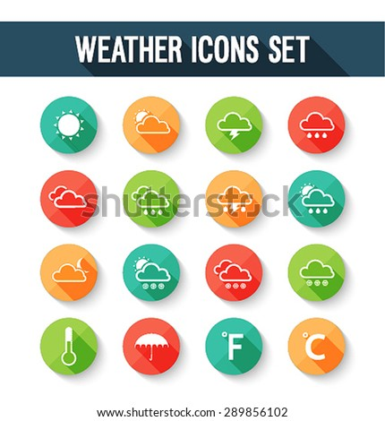 Flat weather icons set. Vector illustration. - stock vector