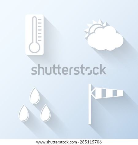 Flat weather icons with long shadows. Vector illustration - stock vector