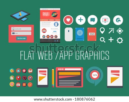 Flat web/app graphics - stock vector