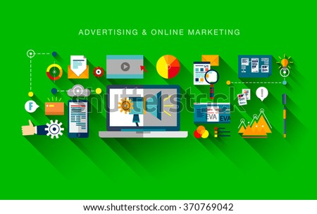 Flat web banner template design with outline icons of online marketing promotion, digital advertising research, SMM campaign. Modern vector illustration business concept for websites, infographics.