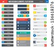 Flat Web Design elements, buttons, icons. Templates for website. - stock