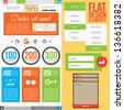 Flat Web Design, elements, buttons, icons. Templates for website. - stock vector