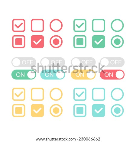 Flat web design elements. On and off position. Check mark. Template for app and website. Vector illustration - stock vector