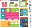 Flat Web Design elements.  Templates for website. - stock