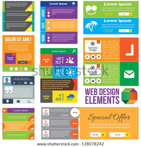 Flat Web Design elements.  Templates for website. - stock vector