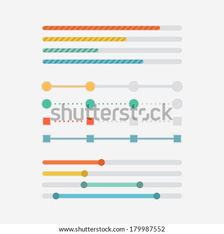 Flat web design progress bars set. Vector illustration - stock vector