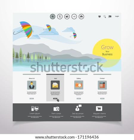 Flat Web Design Template.  - stock vector