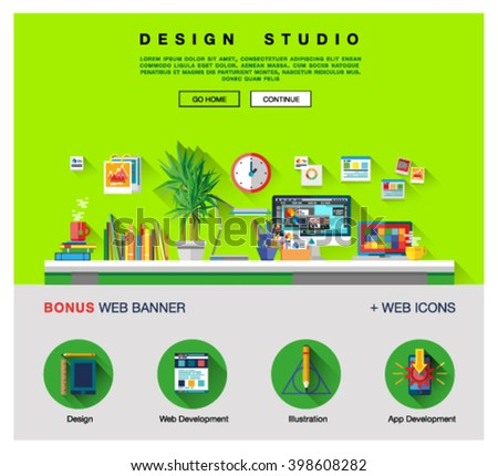Flat web design template of one page with bright flat icons of design studio agency services. Digital graphics, web develop and apps prototyping. Flat design image concept, website elements layout - stock vector