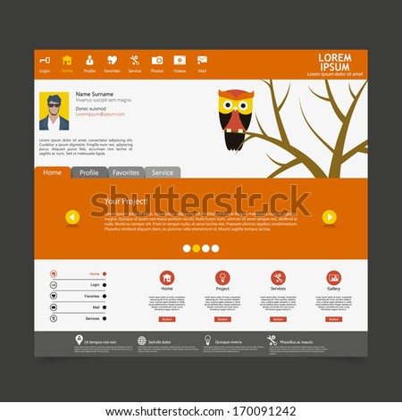 Flat Web Design Template with owl illustration - stock vector