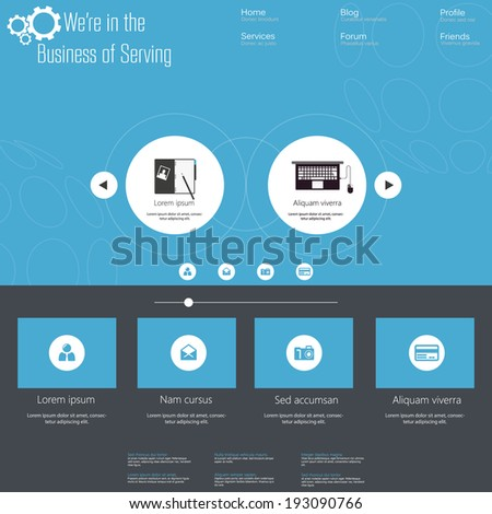 Flat web design vector blue template, easy editable  - stock vector