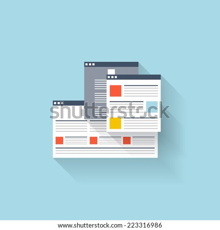 Flat web icon. Browser interface window - stock vector