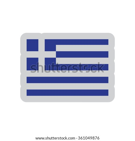 Flat web icon on white background flag of Greece - stock vector