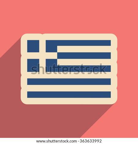 Flat web icon with long shadow flag of Greece - stock vector
