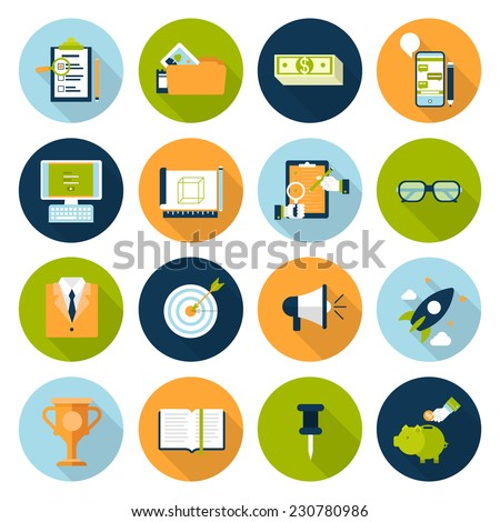 Flat web infographic icon set. Online business, digital marketing, strategy management planning, research, promotion, e-commerce, technology, internet concept icons. Checklist, phone chat and savings. - stock vector