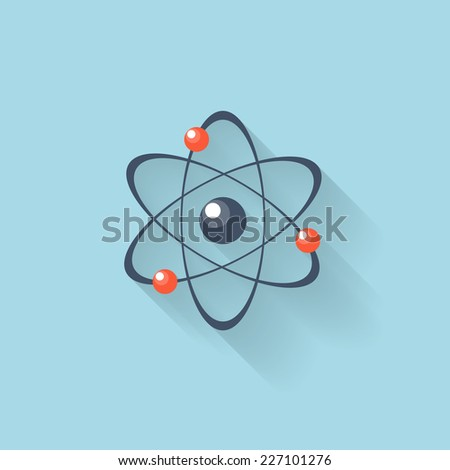 Flat web internet icon. Atomic model. - stock vector