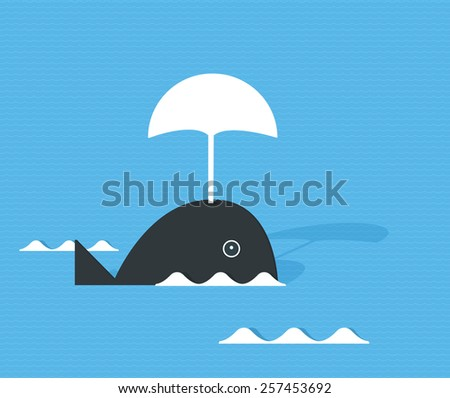 Flat whale on the waves - stock vector