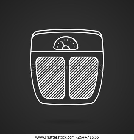 Flat white line vector icon for analogue floor scales for weigh control on black background.  - stock vector