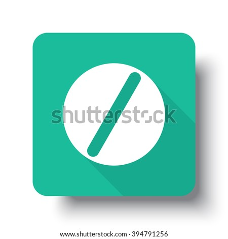 Flat white Pill web icon on green button with drop shadow - stock vector