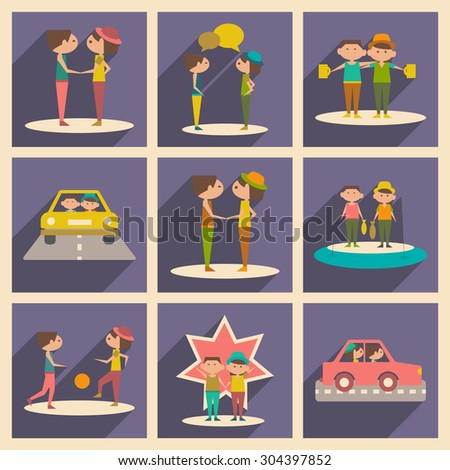 Flat with shadow concept and mobile application friends - stock vector