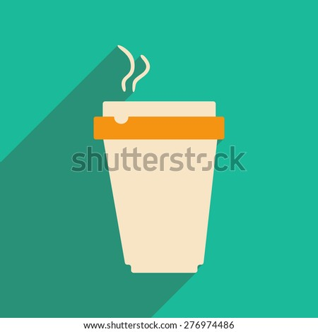 Flat with shadow icon and mobile applacation coffee  - stock vector