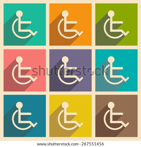 Flat with shadow icon and mobile applacation wheelchair - stock vector