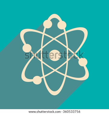Flat with shadow icon and mobile application atoms of the molecule - stock vector