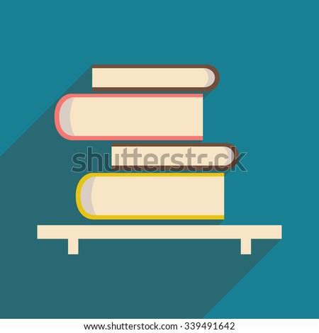 Flat with shadow icon and mobile application book shelf  - stock vector