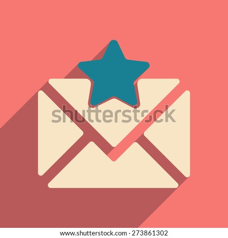 Flat with shadow icon and mobile application envelope star  - stock vector