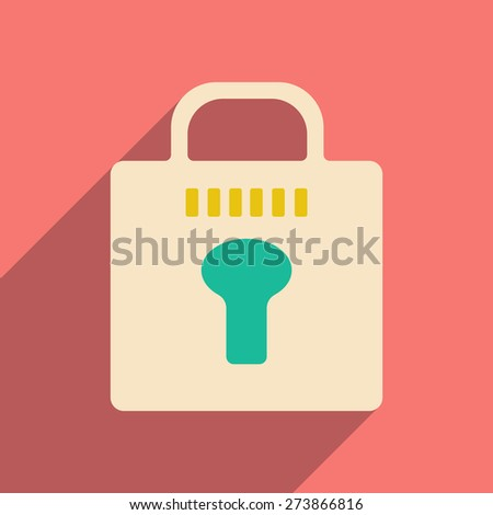 Flat with shadow icon and mobile application locking  - stock vector