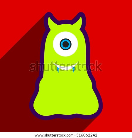 Flat with shadow Icon cyclops monster on the bright background - stock vector