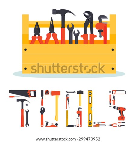 Flat wooden hardware tools box with instruments in it and the letters made from tools