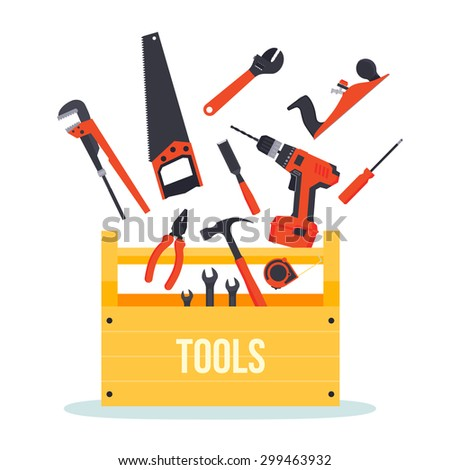 Flat wooden hardware tools box with tools flying around - stock vector