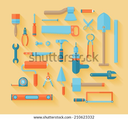 Flat working tools icon set, building object, implements and worker stuff. - stock vector