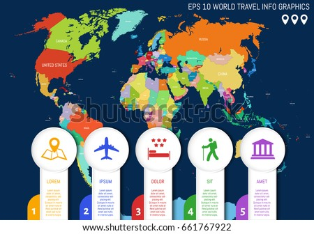 Flat world map country names divided stock vector 661767922 flat world map country names divided into editable contours of countries info graphic gumiabroncs Choice Image