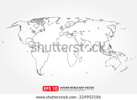 Flat world map outline - stock vector