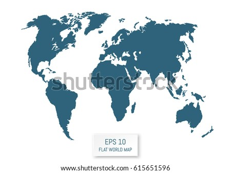 Flat world map template your design stock vector 630833630 flat world map silhouettes on white background template for your design works vector gumiabroncs Images