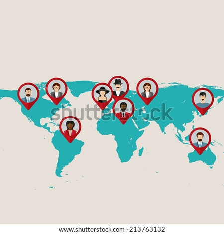 Flat world map with tags, points and destinations with flat faces avatar  - stock vector