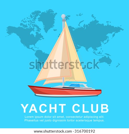 flat yacht, vector illustrations.travel concept with world map. - stock vector