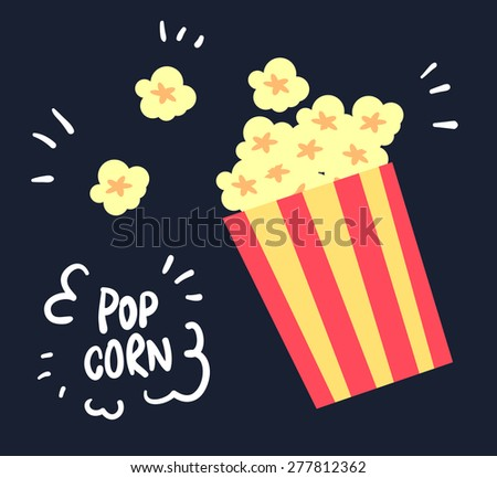 flat yellow popcorn on black background illustration vector - stock vector