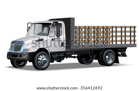 Flatbed truck Available EPS-10 separated by groups and layers with transparency effects for one-click repaint - stock vector
