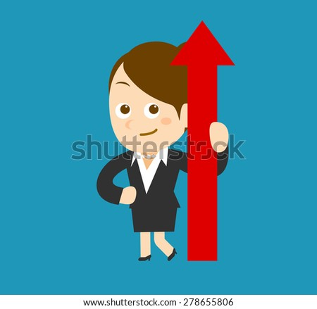 Flatten Vector illustration - Cartoon businesswoman character