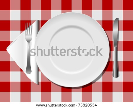 Flatware on checkered tablecloth eps8 - stock vector