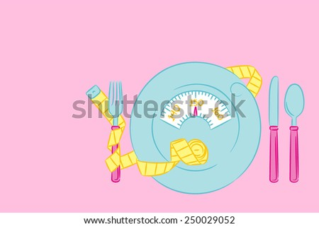 Flatware with tape measure - stock vector