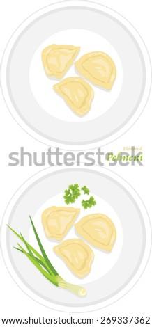 Flavored pelmeni on a plate. Vector - stock vector
