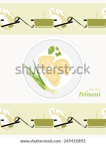 Flavored pelmeni. Pattern for wrapping. Vector - stock vector
